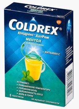 Колдрекс Хотрем, порошок для приготовления раствора для приема внутрь, ментол и медовый лимон, 5 шт.