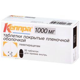 Кеппра, 1000 мг, таблетки, покрытые пленочной оболочкой, 30 шт.
