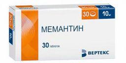 Мемантин, 10 мг, таблетки, покрытые пленочной оболочкой, 30шт.