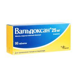 Вальдоксан, 25 мг, таблетки, покрытые пленочной оболочкой, 98 шт.