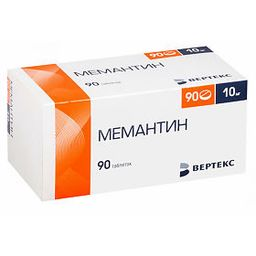 Мемантин, 10 мг, таблетки, покрытые пленочной оболочкой, 90 шт.