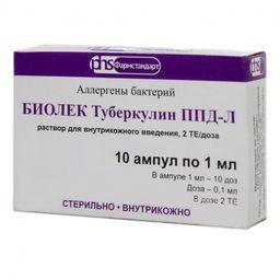 БИОЛЕК Туберкулин ППД-Л, 2 ТЕ/доза, раствор для внутрикожного введения, 1 мл, 10 шт.