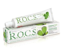 ROCS Зубная паста Энергия утра Двойная мята, без фтора, паста зубная, со вкусом мяты, 74 г, 1шт.