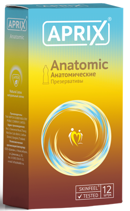 Презервативы Aprix Anatomic, презерватив, анатомической формы, 12 шт.