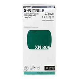 Перчатки смотровые нитриловые Manual XN 809 неопудренные, размер M, нестерильная (ые, ый), 50 шт.
