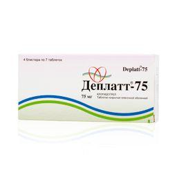 Деплатт-75, 75 мг, таблетки, покрытые пленочной оболочкой, 28 шт.