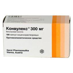 Конвулекс, 300 мг, капсулы мягкие, 100 шт.