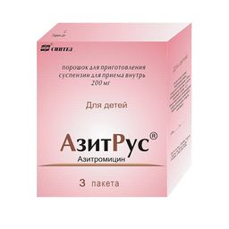 АзитРус, 200 мг, порошок для приготовления суспензии для приема внутрь, 4.2 г, 3 шт.
