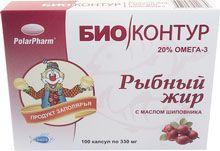 Рыбный жир с маслом шиповника, 330 мг, капсулы, 100шт.