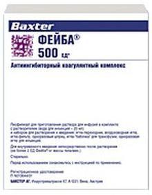 Фейба, 500 МЕ, лиофилизат для приготовления раствора для инфузий, в комплекте с растворителем, 1шт.