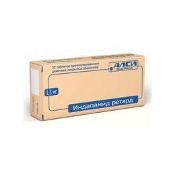 Индапамид ретард, 1.5 мг, таблетки пролонгированного действия, покрытые оболочкой, 30шт.