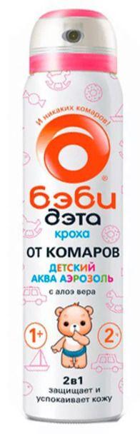 Бэби Дэта Кроха детский акваспрей от комаров 2 в 1, аэрозоль, 75 мл, 1 шт.