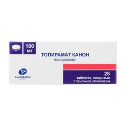 Топирамат Канон, 100 мг, таблетки, покрытые пленочной оболочкой, 28 шт.