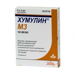 Хумулин М3, 100 МЕ/мл, суспензия для подкожного введения, 3 мл, 5 шт.