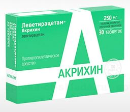 Леветирацетам-Акрихин, 250 мг, таблетки, покрытые пленочной оболочкой, 30 шт.