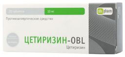 Цетиризин-OBL, 10 мг, таблетки, покрытые пленочной оболочкой, 20шт.