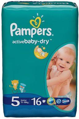 Подгузники детские Pampers Active baby-dry, 11-18 кг, р. 5 (Junior), 16 шт.