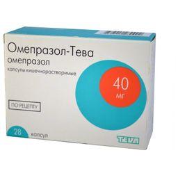 Омепразол-Тева, 40 мг, капсулы кишечнорастворимые, 28 шт.