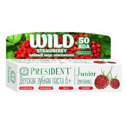PresiDent Junior зубная паста земляника, паста зубная, без фтора, 50 мл, 1шт.