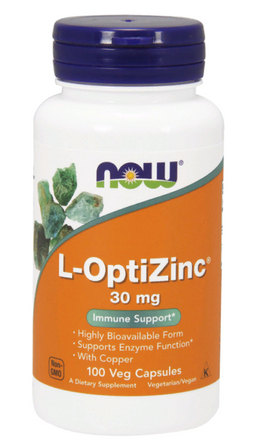 NOW L-OptiZinc, 30 мг, капсулы, 100 шт.