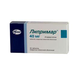 Липримар, 40 мг, таблетки, покрытые пленочной оболочкой, 30 шт.