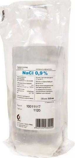 Натрия хлорид, 0.9%, раствор для инфузий, 500 мл, 1 шт.