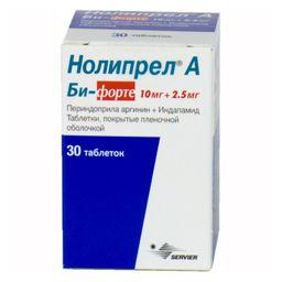 Нолипрел А Би-форте, 10 мг+2.5 мг, таблетки, покрытые пленочной оболочкой, 30 шт.