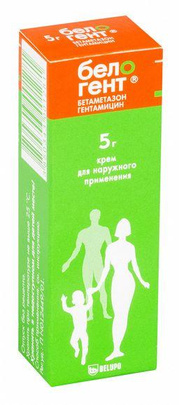 Белогент, 0.5 мг/г+1 мг/г, крем для наружного применения, 5 г, 1 шт.