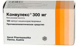 Конвулекс, 300 мг, капсулы кишечнорастворимые, 100шт.