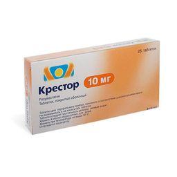 Крестор, 10 мг, таблетки, покрытые пленочной оболочкой, 28 шт.