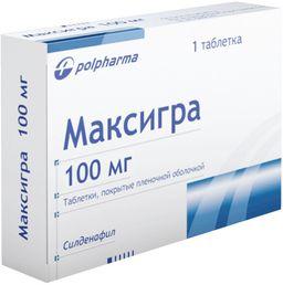 Максигра, 100 мг, таблетки, покрытые пленочной оболочкой, 1 шт.