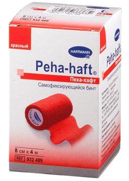Peha-haft Бинт самофиксирующийся, 8смх4м, красного цвета, 1шт.