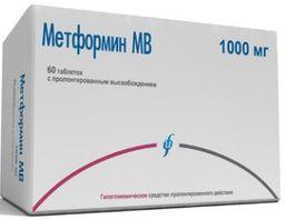Метформин МВ, 1000 мг, таблетки с пролонгированным высвобождением, 60 шт.