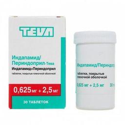 Индапамид/Периндоприл-Тева, 0.625 мг+2.5 мг, таблетки, покрытые пленочной оболочкой, 30 шт.