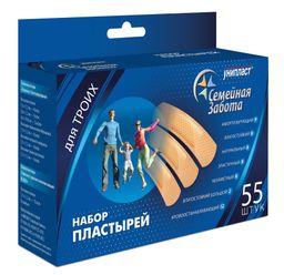 Унипласт лейкопластырь бактерицидный Семейная забота, пластырь в комплекте, 55 шт.