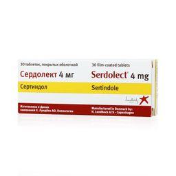 Сердолект, 4 мг, таблетки, покрытые оболочкой, 30 шт.
