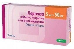 Лортенза, 5 мг+50 мг, таблетки, покрытые пленочной оболочкой, 90 шт.