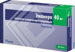 Эманера, 40 мг, капсулы кишечнорастворимые, 14 шт.