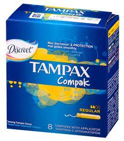 Tampax Compak regular тампоны женские гигиенические с аппликатором, 8 шт.