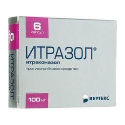 Итразол, 100 мг, капсулы, 6 шт.