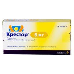 Крестор, 5 мг, таблетки, покрытые пленочной оболочкой, 28шт.
