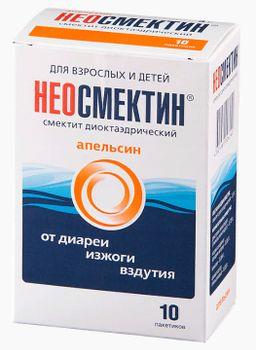 Неосмектин, 3 г, порошок для приготовления суспензии для приема внутрь, с апельсиновым вкусом, 3.76 г, 10 шт.