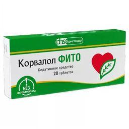 Корвалол Фито, 0.58 мг+14 мг+8.2 мг, таблетки, 20шт.