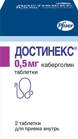 Достинекс, 0.5 мг, таблетки, 2шт.