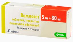 Вамлосет, 5 мг+80 мг, таблетки, покрытые пленочной оболочкой, 30 шт.