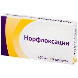 Норфлоксацин, 400 мг, таблетки, покрытые пленочной оболочкой, 10шт.