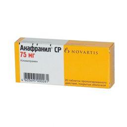 Анафранил СР, 75 мг, таблетки пролонгированного действия, покрытые пленочной оболочкой, 20 шт.