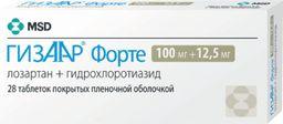 Гизаар Форте, 100 мг+12.5 мг, таблетки, покрытые пленочной оболочкой, 28 шт.