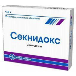 Секнидокс, 1 г, таблетки, покрытые пленочной оболочкой, 2 шт.