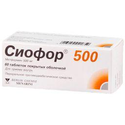 Сиофор 500, 500 мг, таблетки, покрытые оболочкой, 60 шт.